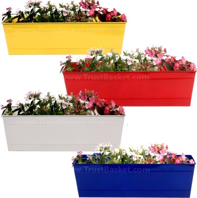 TrustBasket Set of 4 - Rectangular Railing Planter Plant Container