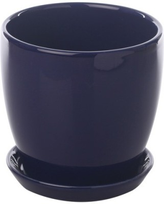 Gaia Pottery Gaia Chrome Blue Glazed Ceramic 6 x 6.5 Inch Table Top Planter with Plate Plant Container