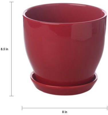 Gaia Pottery Gaia Red Glazed Ceramic 8 x 8.5 Inch Table Top Planter with Plate Plant Container
