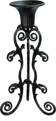 Karara Mujassme Victorian Style Hand-Crafted Antique Black Cast Iron Planter Plant Container