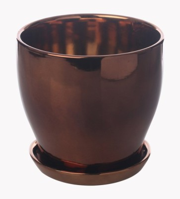 Gaia Pottery Gaia Copper Glazed Ceramic 7 x 7.5 Inch Table Top Planter with Plate Plant Container
