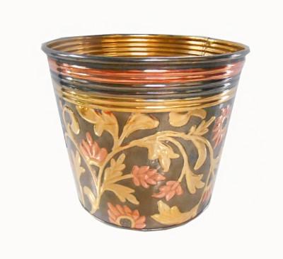 Handicraftscart brass planter black floral Plant Container