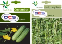 DCS Cucumber and Yard long Bean Seeds(pack of 2 per pack 50 seeds) Seed(50 per packet)