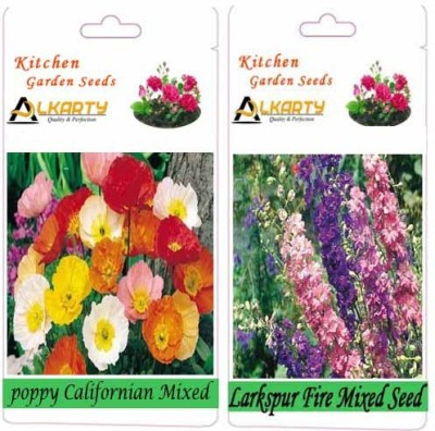Alkarty Poppy Californian Mixed and Larkspur Fire Mixed (Winter) Seed