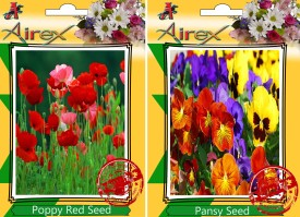 Airex Poppy Red and Pansy Flower Seeds (30 seeds per packet) Seed(30 per packet)