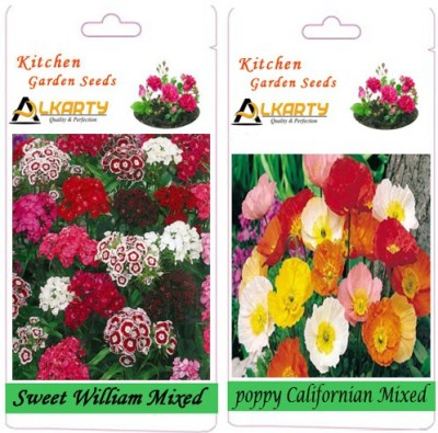 Alkarty Sweet William Mixed and Poppy Californian Mixed (Winter) Seed