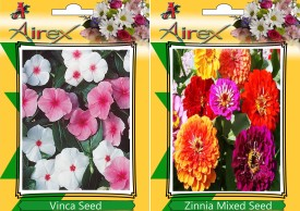 Airex Vinca and Zinnia Mixed (Summer) Flower Seed (pack of 25 seeds per packet) Seed(25 per packet)