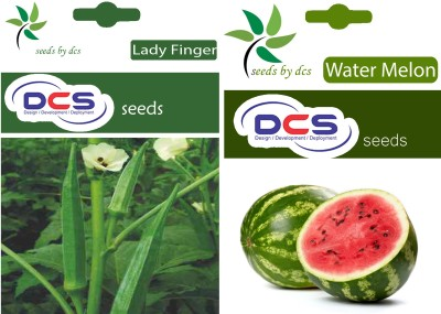 DCS Lady Finger & Water Melon(2 Pack of 50 Seeds Each) Seed