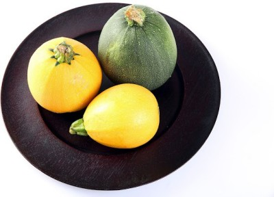 Raunak Seeds Squash Round Tondo Green, Yellow, 50 Seeds Seed