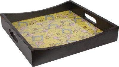 Art Potli Geometric Yellow Solid Wood Tray