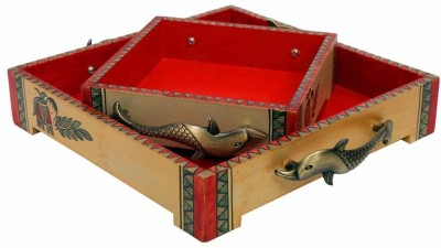 Indikala Set of Two Ethnic Wooden Trays with Fish Handles Printed Wood, Iron Tray Set(Multicolor, Pack of 2) at flipkart