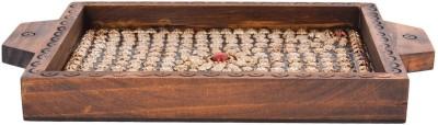 Rajkruti Handicraft Serving Tray Solid Wood Tray(Brown, Pack of 1)