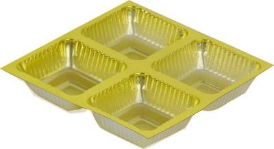MEENA Chocolate Packaging Embossed Plastic Tray(Gold, Pack of 50)