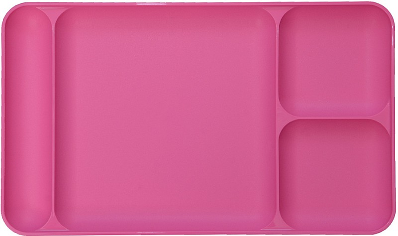 Tupperware Dinning Tray Solid Plastic Plate(Pink, Pack of 1)