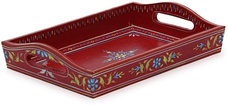 Kaushalam Small Painted: Red Embossed Wood Tray(Red, Pack of 1)