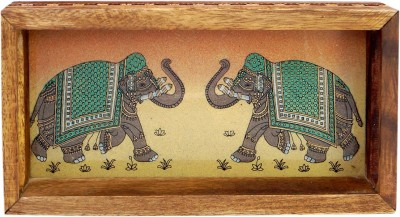 R S Jewels Gemstone Elephant Painting Wooden Engraved Wood Tray