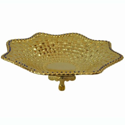 Sambhav Products Flower Dish Solid Gold Plated Tray