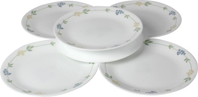 Corelle Essential Series Printed Glass Plate Set(White, Pack of 6)