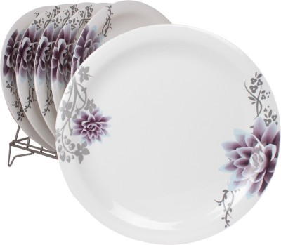 White Gold Purple Beauty Printed Melamine Plate Set
