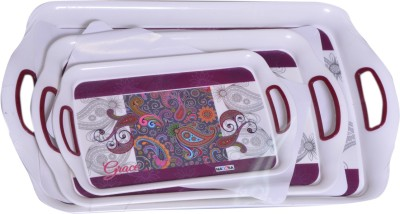 Nayasa Ruby Printed Plastic Tray(White, Purple, Pack of 3)