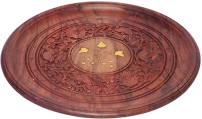 Crafts,man Wooden Handcrafted Plate Carved Center Brass Work  Embossed Wood Tray(Brown, Pack of 1)