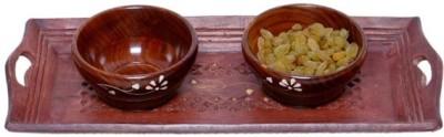 Onlineshoppee Sheesham Solid Wood Tray Set