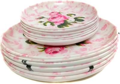 Wood & kemp Smart Dinning ROSA Pack of 12 Printed Melamine Plate Set