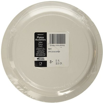 Amscan Hammered Bone China Plate Set(Silver)