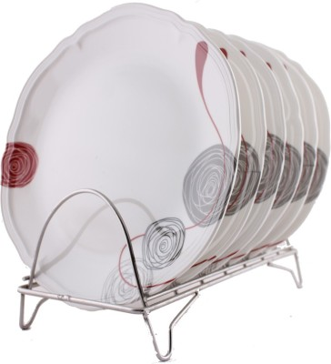 Silver Fish Elite Printed Melamine Plate Set(White, Red, Grey, Pack of 6)