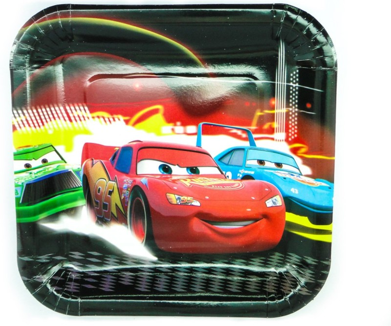 Ziggle McQueen Car Printed Paper Plate Set(Multicolor, Pack of 10)
