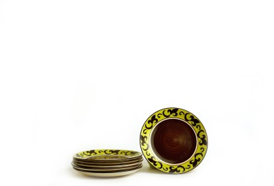 Caffeine Handmade Artistic Pattern Brown Engraved Ceramic Plate Set