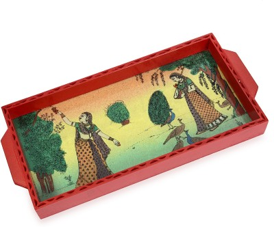 R S Jewels Serving With Gemstone Painting For Home & Kitchen Embellished Wood Tray