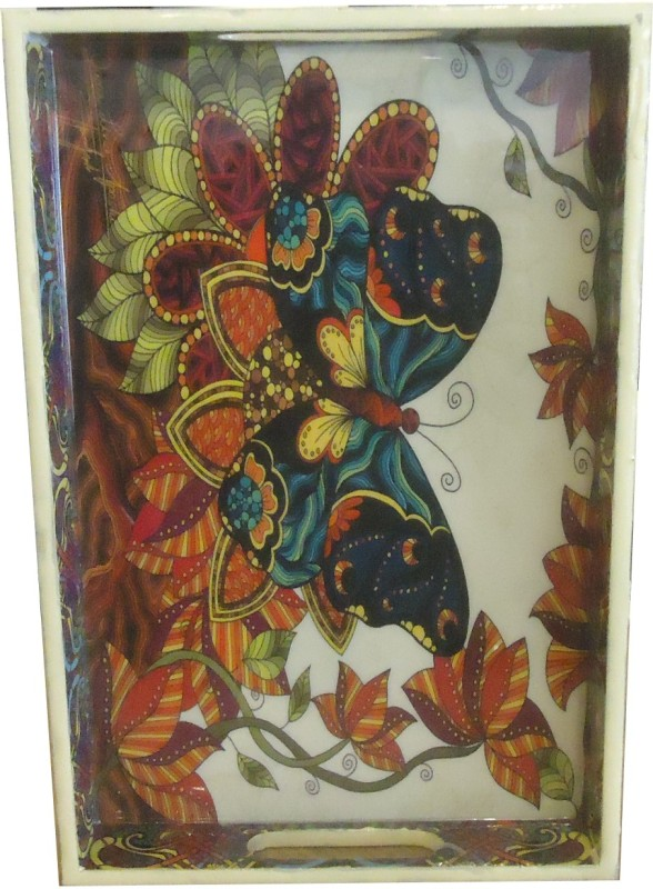 Home 2 Home Laminated Wooden Butterfly Print Fancy Printed Wood Tray(Multicolor)