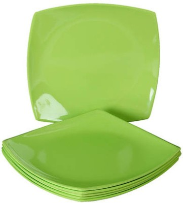 Ambitione Solid _ Plate_010 Solid Porcelain Plate(Green, Pack of 6)
