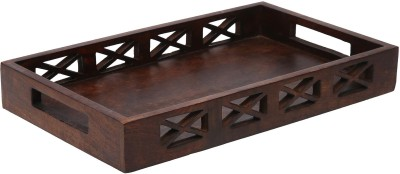 HomeStop Small Carved Tray Solid Wood Tray