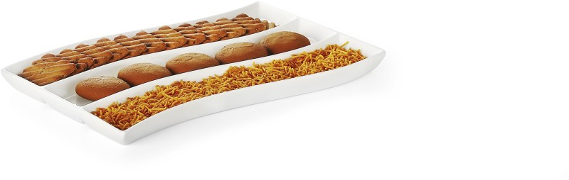 Sivica DWP3007 Solid Porcelain Tray(White, Pack of 1)