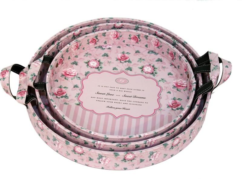 CASA BONITA DELHI Printed Paper Tray Set(Pink, Pack of 3)