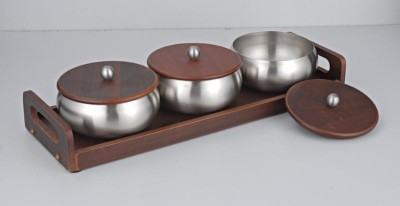 Meera Exclusive Savvy Tray Set of 3 Bowls with Wooden Tray Solid Wood Tray