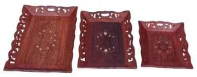 Onlineshoppee Afr533 Solid Wood Tray Set