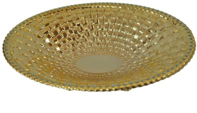 Sambhav Products Round Tray Solid Gold Plated Plate