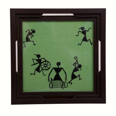 I Village Warli Design Solid Wood Tray