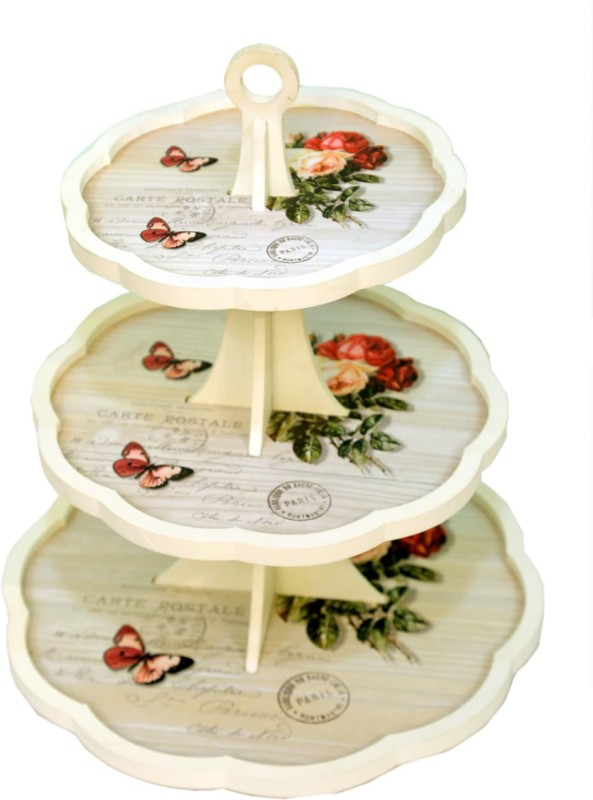 CASA BONITA DELHI Printed Wood Tray(Multicolor, Pack of 1)
