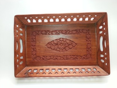 Jupiter Gifts and Crafts Carved 15x9 Hammered Wood Tray