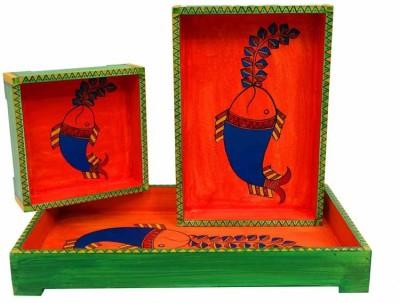 Indikala Printed Wood Tray Set