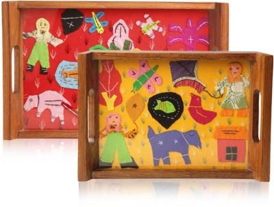 ExclusiveLane Set of 2 Teak Wood Applique Art Decorative Serving Engraved Wood Tray Set