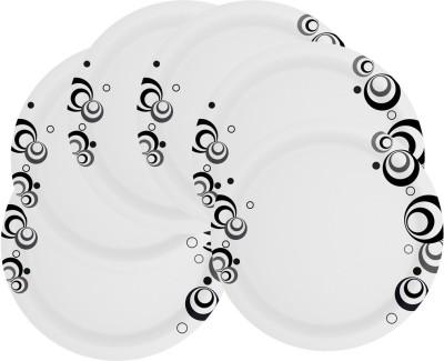 Mehul 7 inch Sonata D-2013 Black Bubbles Printed Melamine Plate Set
