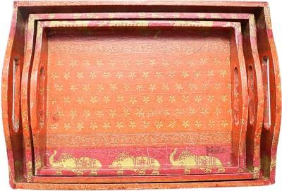 i-am The Great Indian Elephant Printed Wood Tray Set