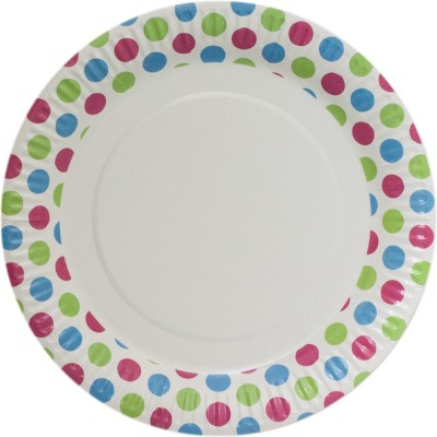 Origami 50 pieces Dots Print Solid Paper Plate Set
