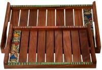 ExclusiveLane Madhubani Handpainted Sheesham Tray Set(Pack of 2)