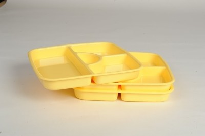 Signoraware Serving Thali Solid Plastic Plate Set(Yellow, Pack of 3)